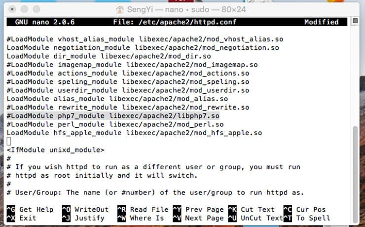 Install Apache in macOS - php