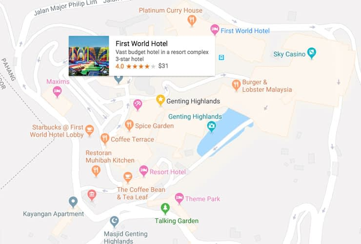 Genting Malaysia Hotels map
