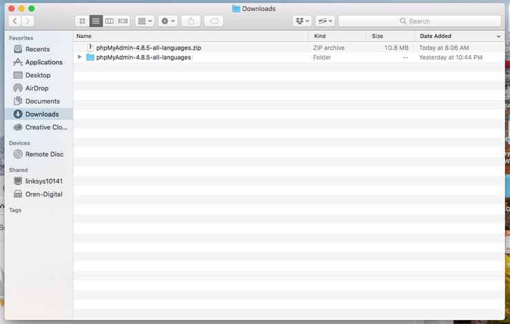 Install Apache in macOS - phpmyadmin