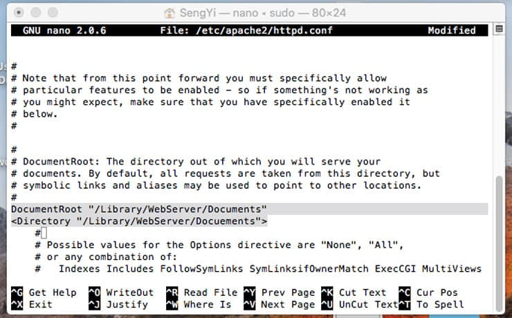 Install Apache in macOS - change directory