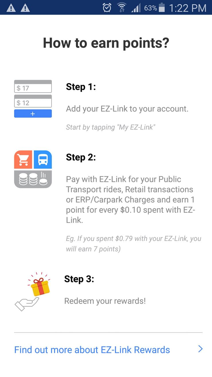 EZ-Link app how to earn points