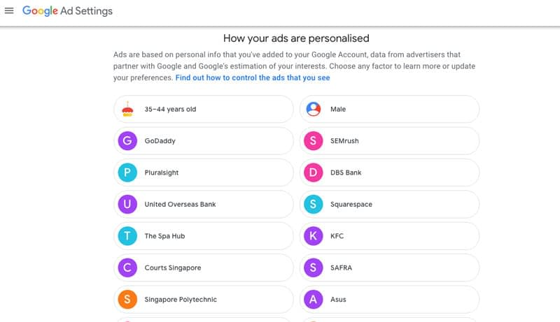 personalised ads setting 1