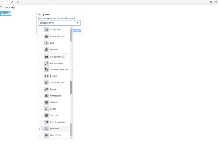 Facebook set up event list