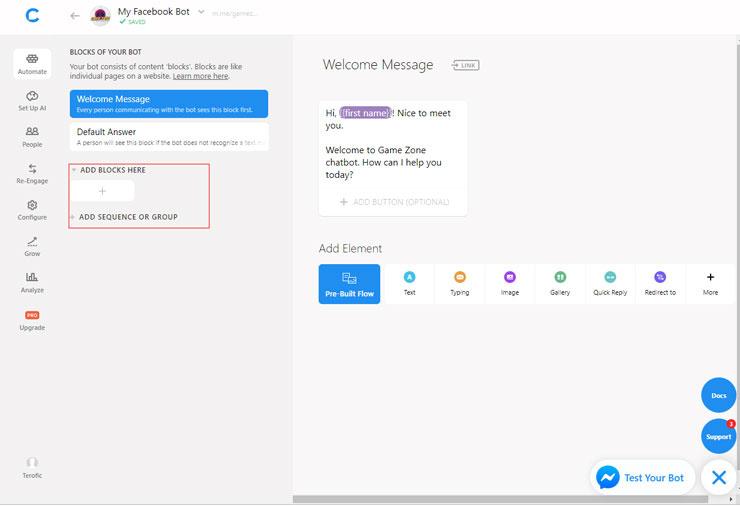 chatfuel chatbot create new blocks